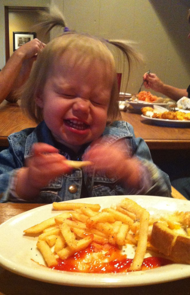 O sucked the ketchup off all of her fries.